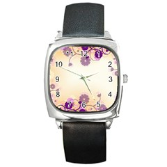 Floral Background Square Metal Watch