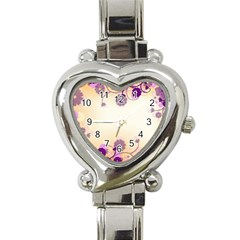 Floral Background Heart Italian Charm Watch