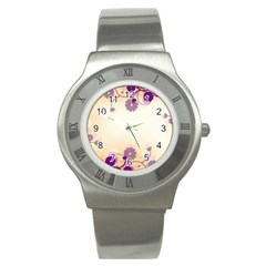 Floral Background Stainless Steel Watch