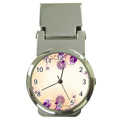Floral Background Money Clip Watches