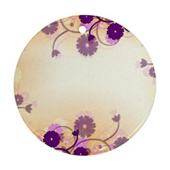 Floral Background Round Ornament (two Sides)