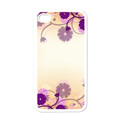 Floral Background Apple Iphone 4 Case (white)