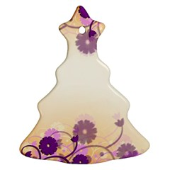 Floral Background Christmas Tree Ornament (two Sides)