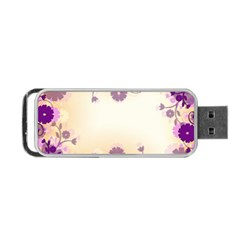 Floral Background Portable Usb Flash (two Sides)