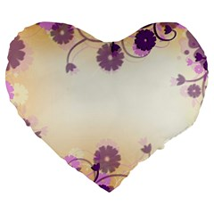 Floral Background Large 19  Premium Heart Shape Cushions