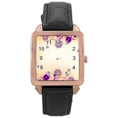 Floral Background Rose Gold Leather Watch