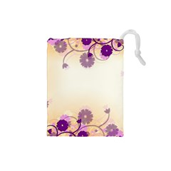 Floral Background Drawstring Pouches (small)