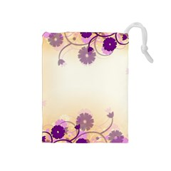 Floral Background Drawstring Pouches (medium)