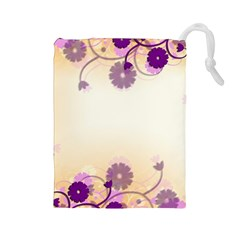 Floral Background Drawstring Pouches (large)