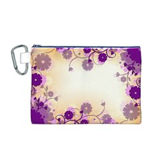 Floral Background Canvas Cosmetic Bag (m)