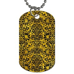 Damask2 Black Marble & Yellow Marble (r) Dog Tag (one Side)