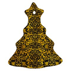 Damask2 Black Marble & Yellow Marble (r) Ornament (christmas Tree)