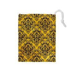 Damask1 Black Marble & Yellow Marble (r) Drawstring Pouch (medium)