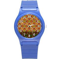 Geometry Shape Retro Trendy Symbol Round Plastic Sport Watch (s)