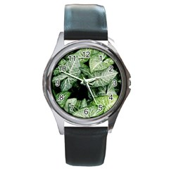 Green Leaves Nature Pattern Plant Round Metal Watch