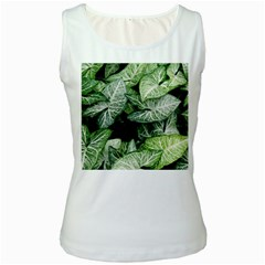Green Leaves Nature Pattern Plant Women s White Tank Top