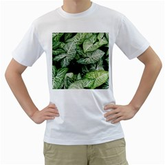 Green Leaves Nature Pattern Plant Men s T-Shirt (White) (Two Sided)