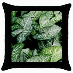 Green Leaves Nature Pattern Plant Throw Pillow Case (black)