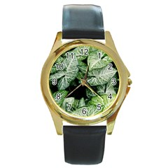 Green Leaves Nature Pattern Plant Round Gold Metal Watch