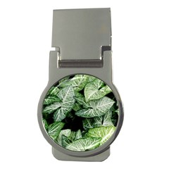Green Leaves Nature Pattern Plant Money Clips (round)