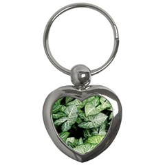 Green Leaves Nature Pattern Plant Key Chains (heart)