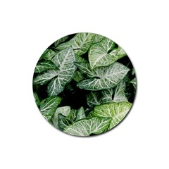 Green Leaves Nature Pattern Plant Rubber Coaster (round)