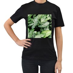 Green Leaves Nature Pattern Plant Women s T Shirt (black) (two Sided)