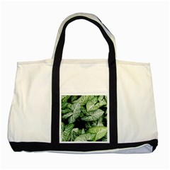 Green Leaves Nature Pattern Plant Two Tone Tote Bag