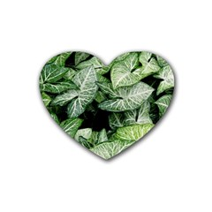 Green Leaves Nature Pattern Plant Rubber Coaster (heart)