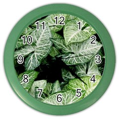 Green Leaves Nature Pattern Plant Color Wall Clocks