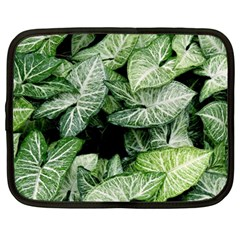 Green Leaves Nature Pattern Plant Netbook Case (large)