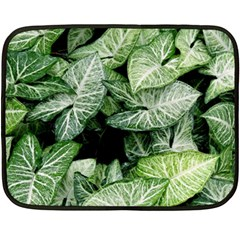 Green Leaves Nature Pattern Plant Fleece Blanket (mini)