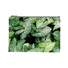Green Leaves Nature Pattern Plant Cosmetic Bag (large)