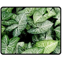 Green Leaves Nature Pattern Plant Fleece Blanket (medium)