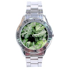 Green Leaves Nature Pattern Plant Stainless Steel Analogue Watch