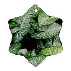 Green Leaves Nature Pattern Plant Snowflake Ornament (two Sides)