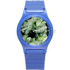 Green Leaves Nature Pattern Plant Round Plastic Sport Watch (S)