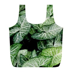 Green Leaves Nature Pattern Plant Full Print Recycle Bags (l)
