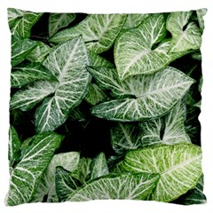 Green Leaves Nature Pattern Plant Large Flano Cushion Case (one Side)