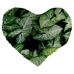 Green Leaves Nature Pattern Plant Large 19  Premium Flano Heart Shape Cushions