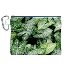 Green Leaves Nature Pattern Plant Canvas Cosmetic Bag (xl)