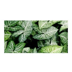 Green Leaves Nature Pattern Plant Satin Wrap