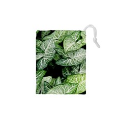 Green Leaves Nature Pattern Plant Drawstring Pouches (xs)
