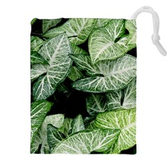 Green Leaves Nature Pattern Plant Drawstring Pouches (xxl)
