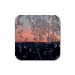 Hardest Frost Winter Cold Frozen Rubber Square Coaster (4 Pack)