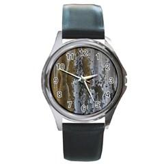 Grunge Rust Old Wall Metal Texture Round Metal Watch