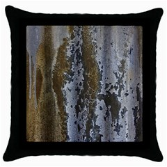 Grunge Rust Old Wall Metal Texture Throw Pillow Case (black)