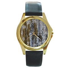 Grunge Rust Old Wall Metal Texture Round Gold Metal Watch