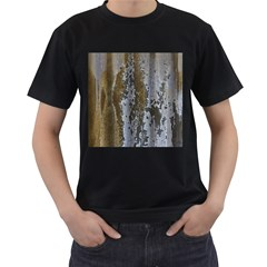 Grunge Rust Old Wall Metal Texture Men s T Shirt (black) (two Sided)