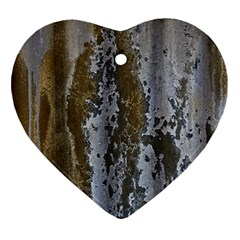 Grunge Rust Old Wall Metal Texture Heart Ornament (two Sides)